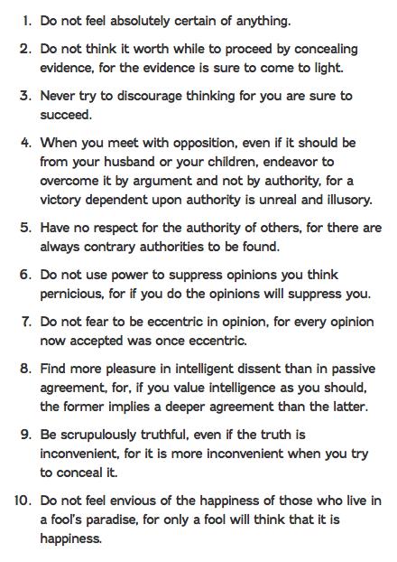 Bertrand RussellS  Commandments Of Teaching  Words