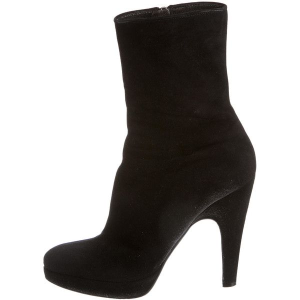 ad164e22 Pre-owned Prada Ankle Boots ($245) ❤ liked on Polyvore featuring shoes,  boots, ankle booties, black, ankle boots, short boots, black suede ankle  booties, ...