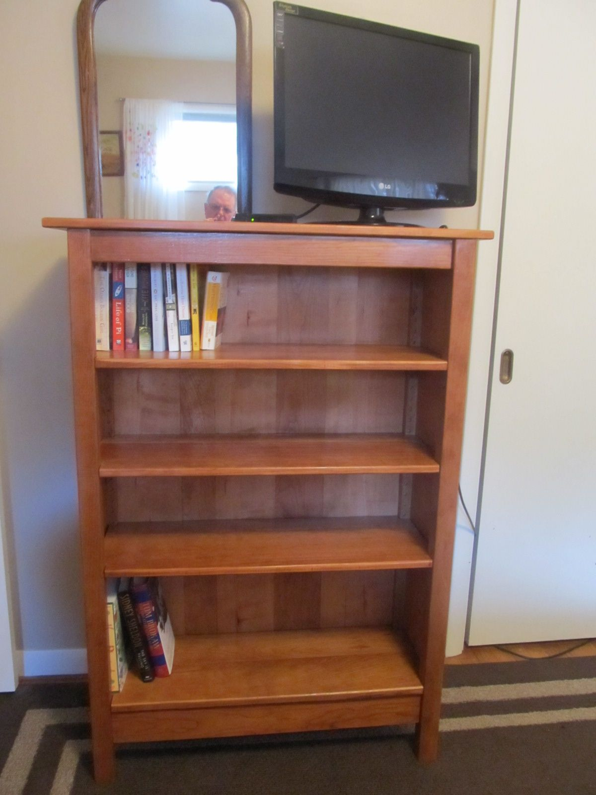 Cherry Bookcase With Shiplap Back And Adjustable Shelves Bookcase Custom Made Furniture Cherry Bookcase