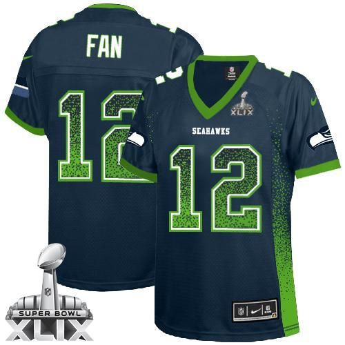 Nike Seahawks #12 Fan Steel Blue Team Color Super Bowl XLIX Women's Stitched  NFL Elite