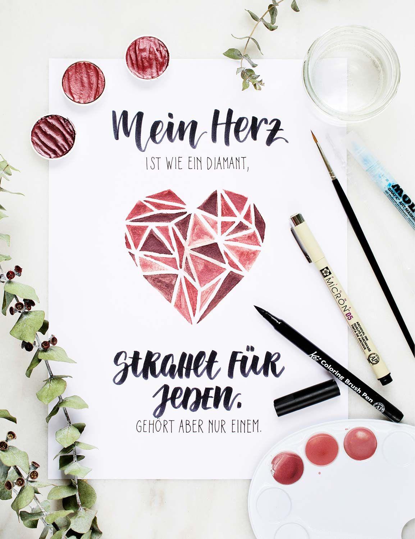 Papierliebe Katja Haas Watercolor Brush Lettering Mein Herz Ist