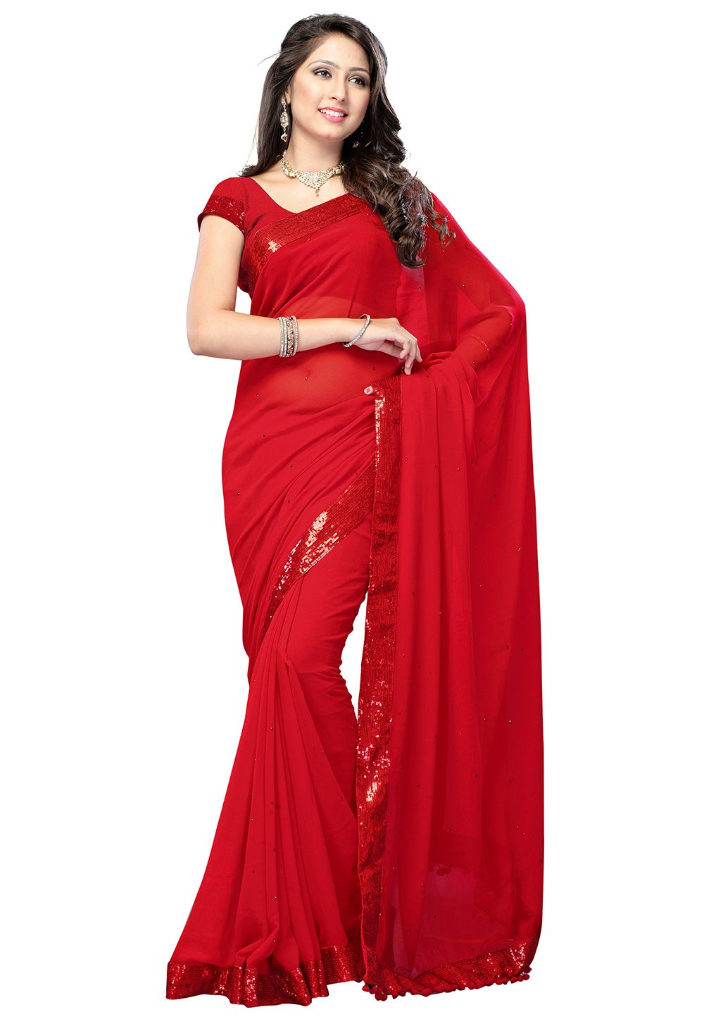 e82a762a32 Red #Saree with Blouse | Red Sarees | Saree, Chiffon saree, Red saree