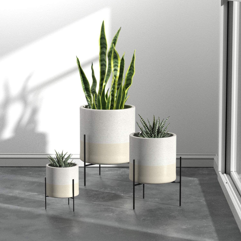 Rivet Mid Century Ceramic Planter With Stand 17 H White Home Kitchen Modern Planter Clean Design Ceramic Planters Indoor Flower Pots Amazon Home Decor