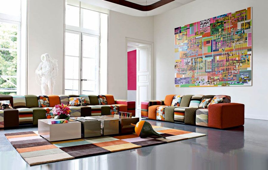 cool modern colorful living room design from roche bobois stylendesignscom - Colorful Living Room