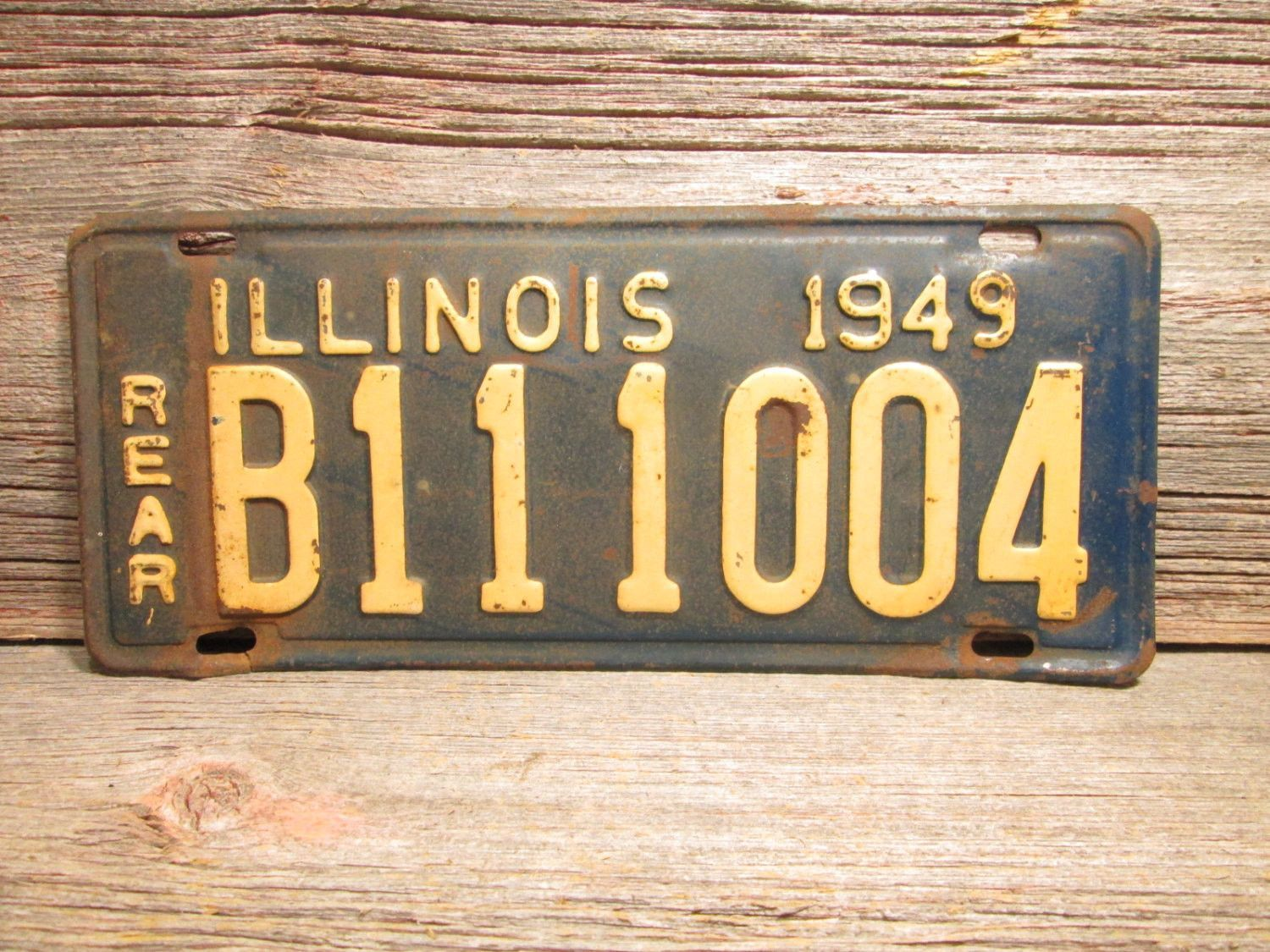 1949 Illinois License Plate Extra Long B111004 Vintage Car Plate ...