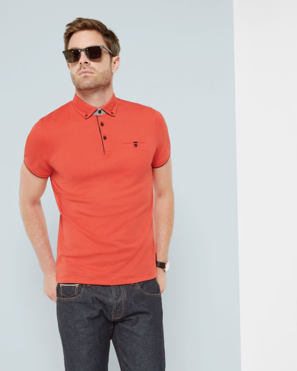 ed1883fa2 Jersey polo shirt - Coral | Tops & T-shirts | Ted Baker | Men's ...