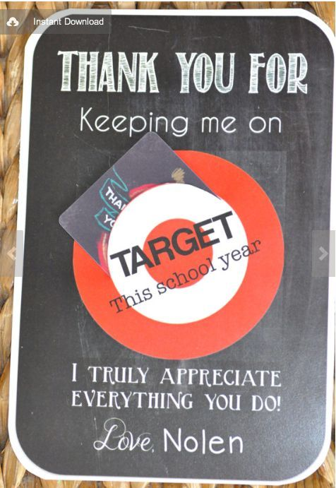 End Of Year Teacher Gifts For A Man THANKS FOR KEEPING ME ON TARGET - Target employee name tag template