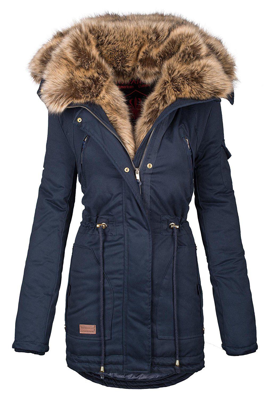 Navahoo Warme Damen Winter Jacke Parka Lang Mantel Winterjacke Fell Kragen B380 B380 Navy Gr Xl Ama Parka Coat Women Winter Jackets Women Winter Coats Women