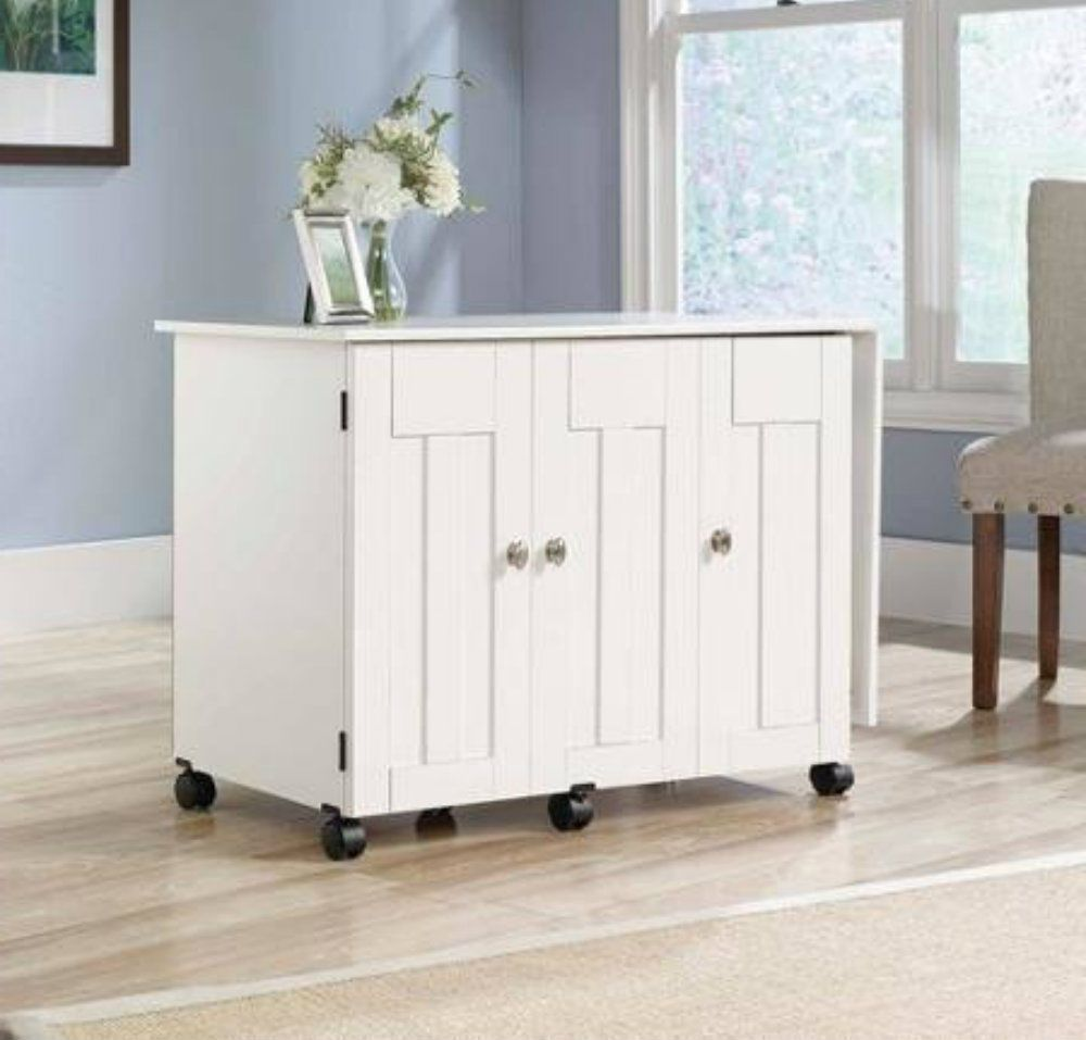 White Sewing Machine Table Craft Cabinet Storage Desk Dresser Drop