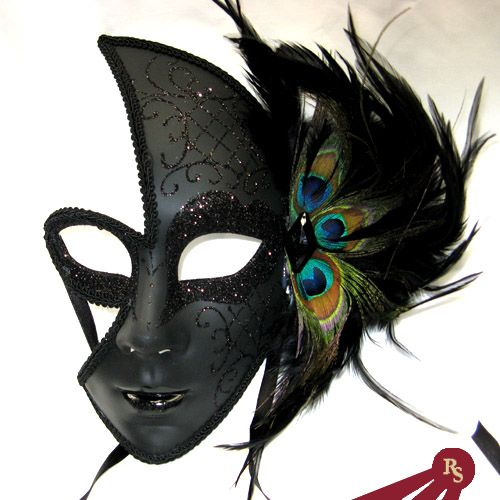 Sparkled Black Peacock Feathered Female Venetian Masquerade Mask  Quantity: WANT!!!!!      $18.95