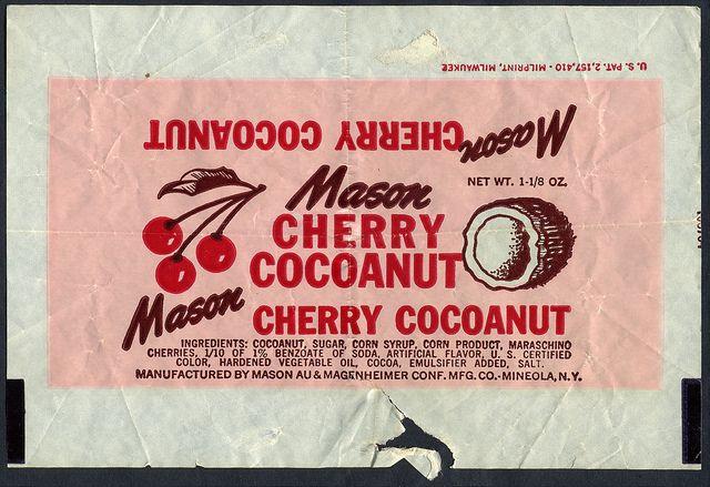 Mason - Cherry Cocoanut - candy bar wrapper - 1950's 1960's by JasonLiebig, via…