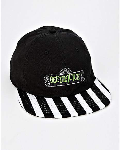 Striped Brim Beetlejuice Hat - Spencer s  7b2e46e6ee3