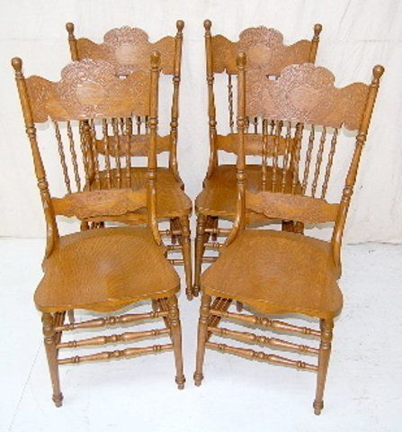 164a Set Of 4 Antique Oak Pressed Back Chairs Oak Dining Sets Chair Victorian Homes