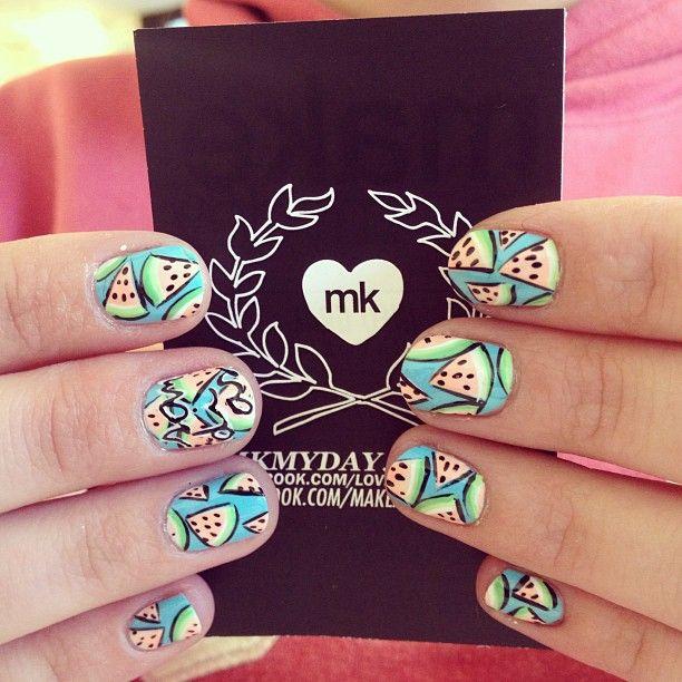 mk #makemyday #nailart #love #sandias #spring | We love nails ...