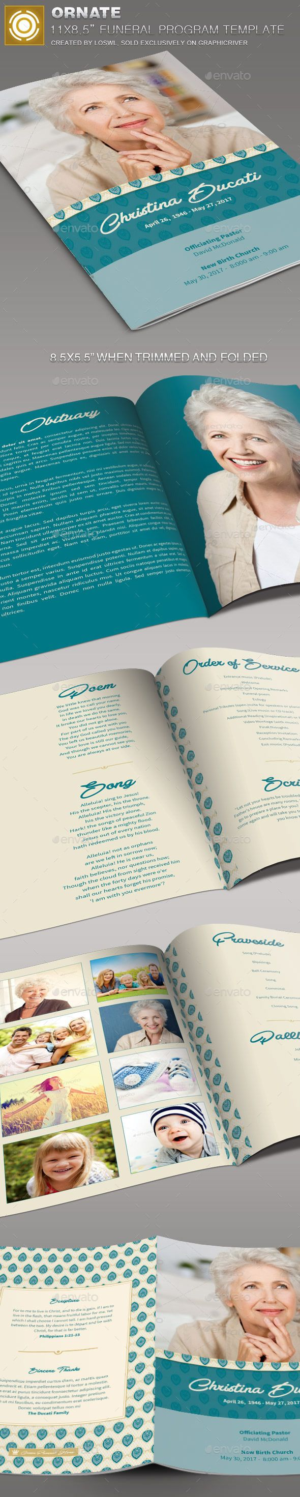 Ornate Funeral Program Template | Program template, Funeral and Template