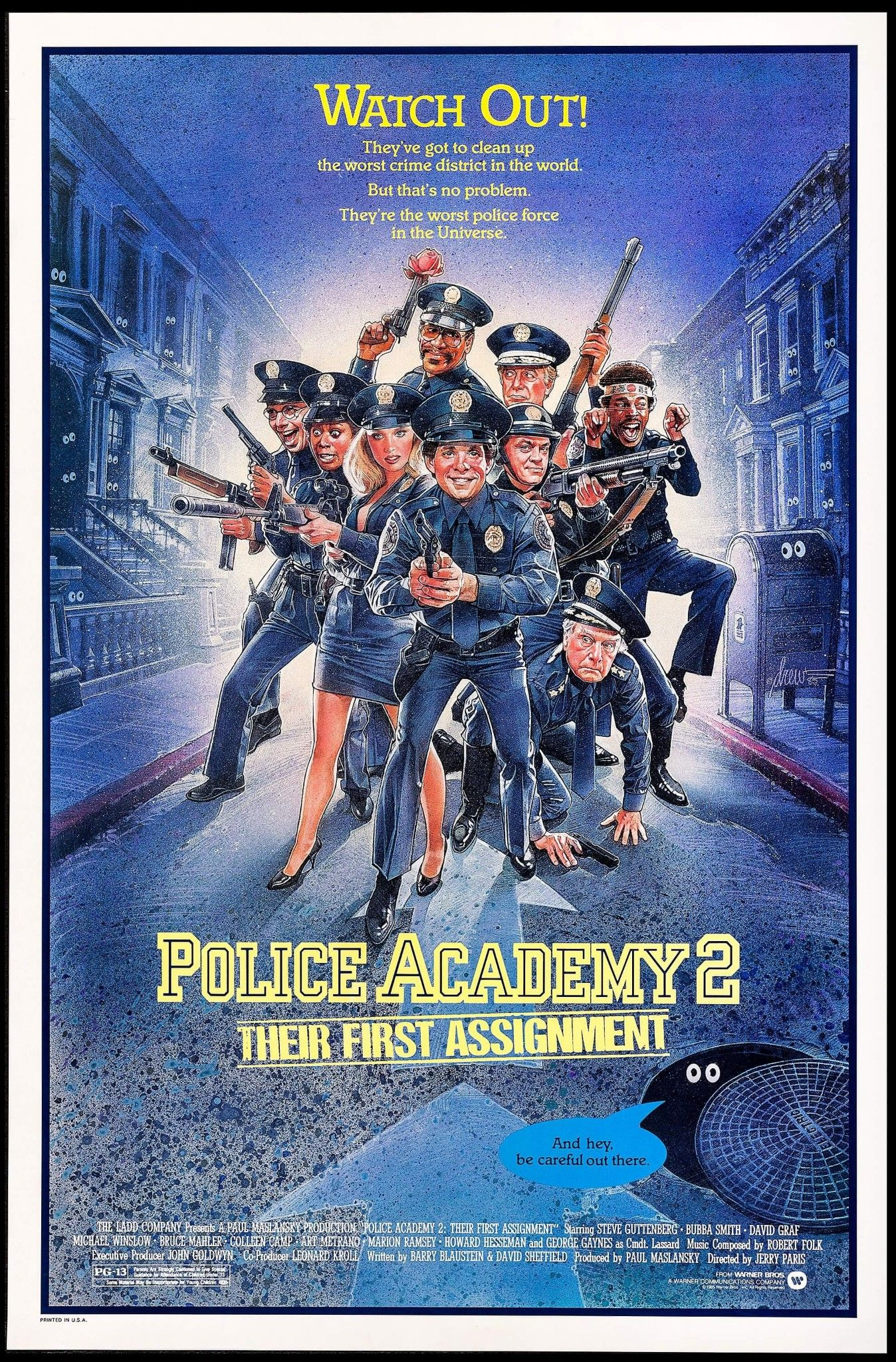 Police Academy 2 Their First Assignment 1985 80s Movie Posters Police Academy Movie Police Academy
