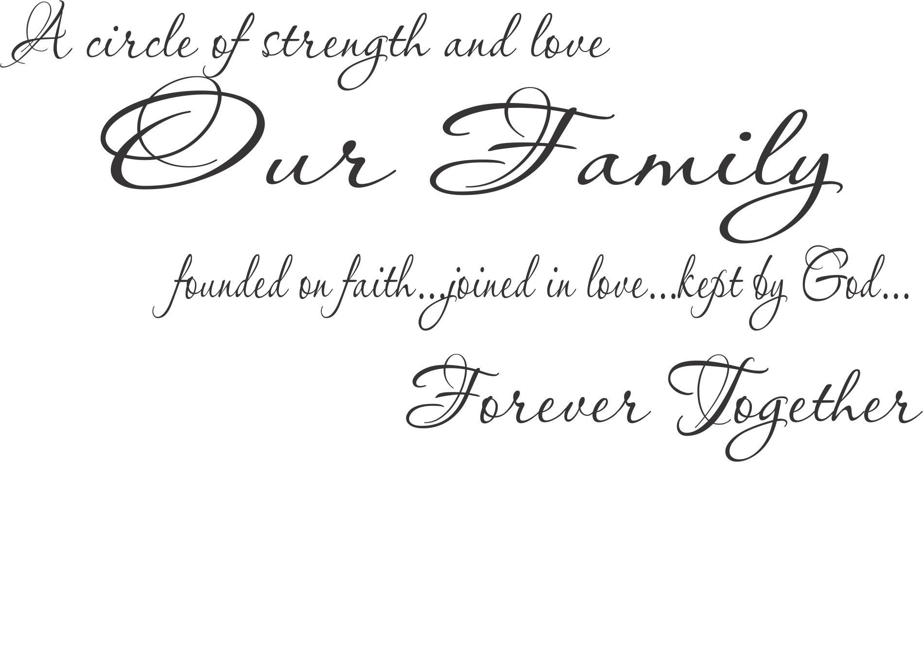 A Circle Of Strengh And Love 32x20 Vinyl Decal Wall Saying