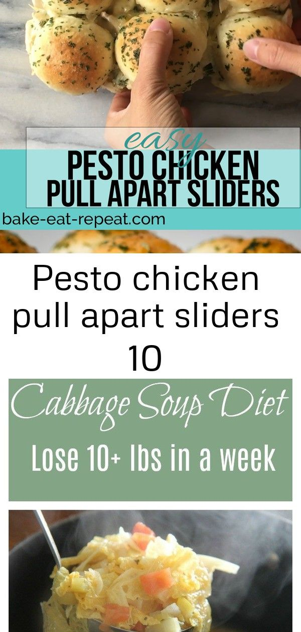 Pesto chicken pull apart sliders 10 These easy to make pesto chicken pull apart sliders are the perfect quick and easy dinner  and the leftover sliders are amazing for lu...