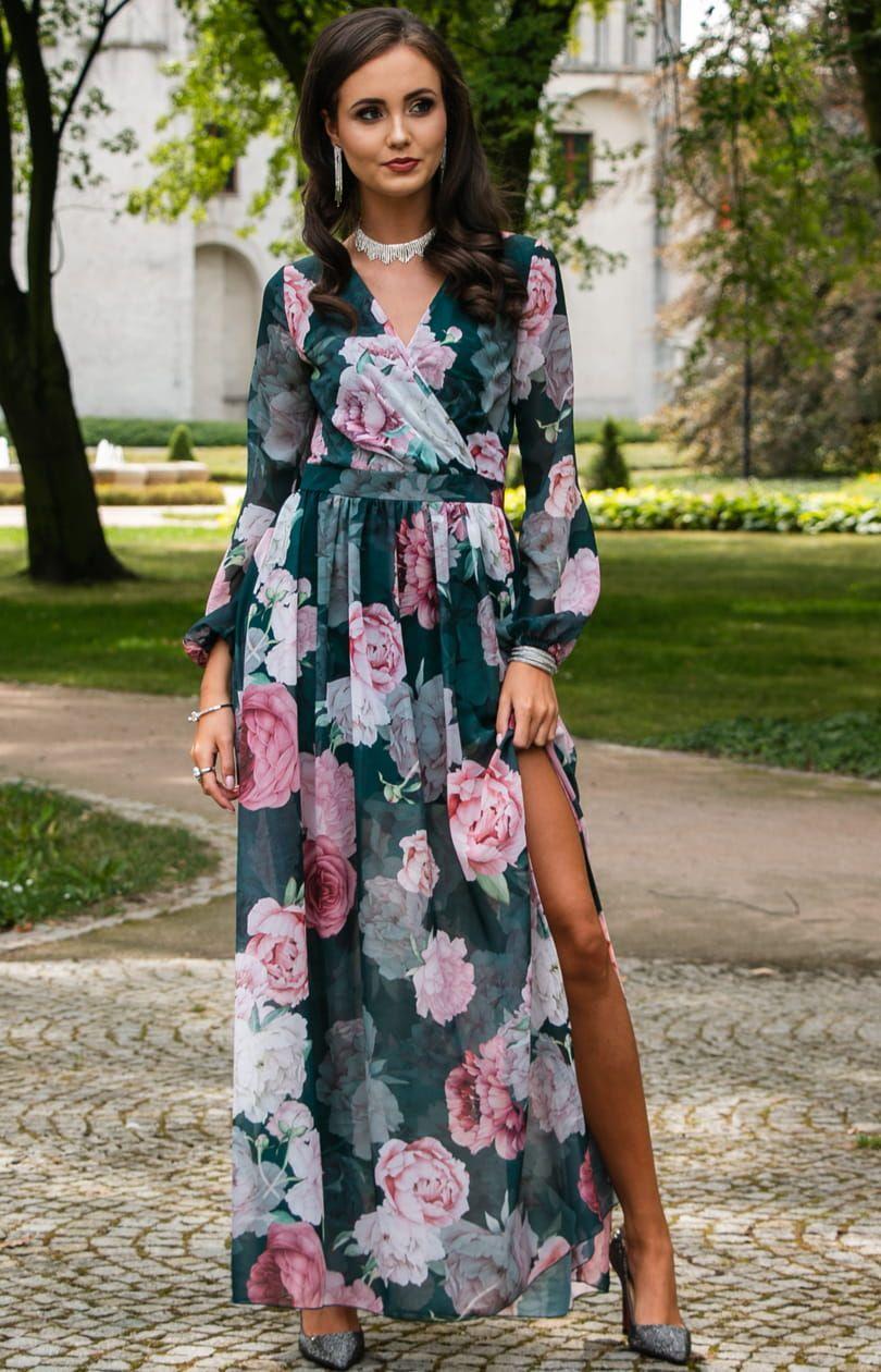 Dluga Sukienka W Kwiaty Roco 0219 D48 Maxi Dress Dresses Fashion