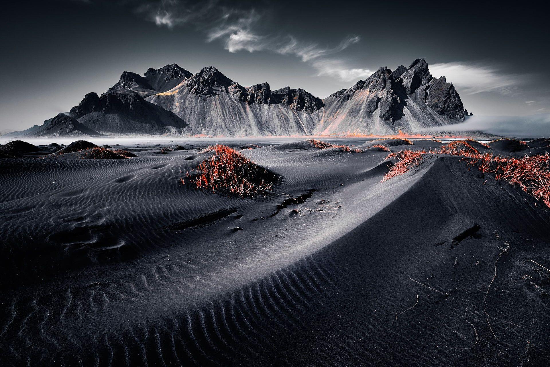 grayscale photo of desert Iceland landscape nature
