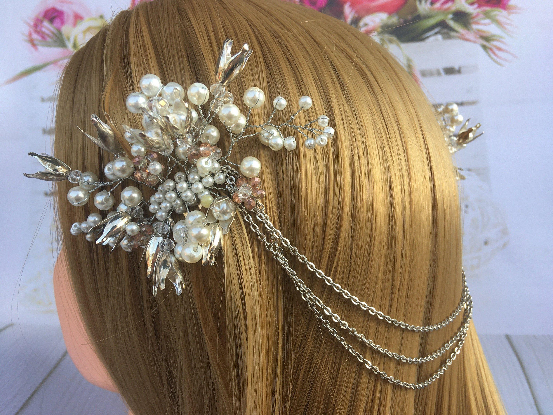 Crystal Floral Leaf Bridal Hair vine Headpiece Flower Leaf Wedding Hair Clip Pearl Wedding Hair Comb Rhinestone Hair Chain Double Comb