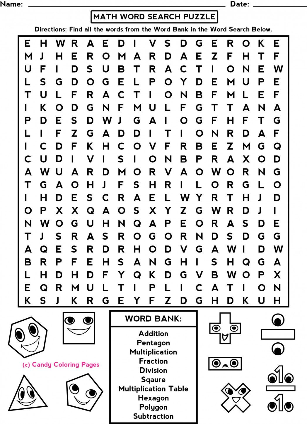 2 Math Puzzle Worksheet Printable 001 In