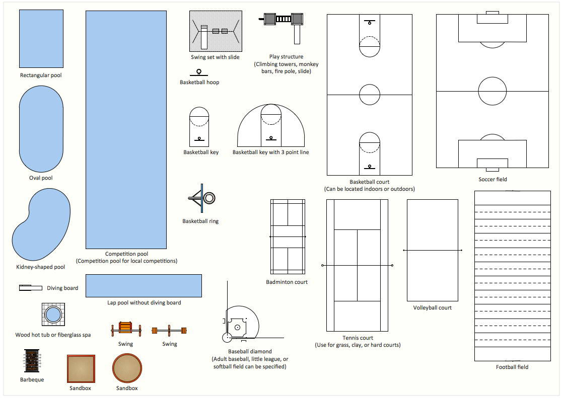 Interior design sport fields design element furniture for 2d plan drawing software