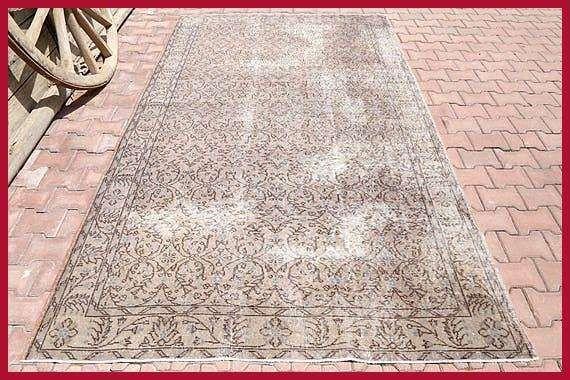 Turkish rug Vintage Rug Home Decor 57x69 Area rug Oushak rug Floral rug Wool rug Bohemian rug Oriental rug Kitchen rug Turkey Turkish rug Vintage Rug Home Decor 5769 Area...