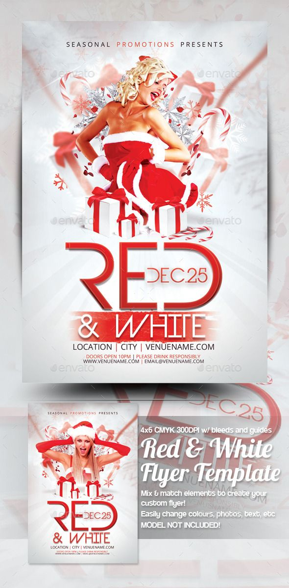 Red  White Christmas Party Flyer Template  Flyer Template Party