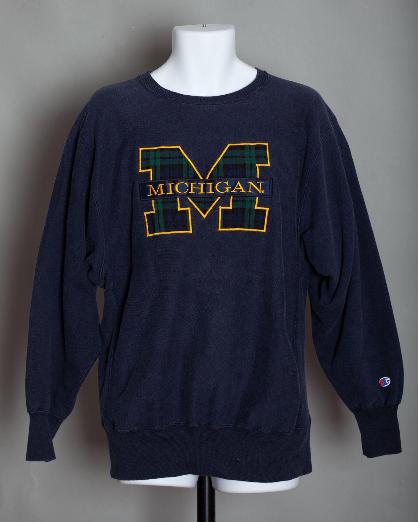 80s 90s Michigan Plaid Block M Sweatshirt Champion Xl Sweatshirts Michigan Sweatshirt Mens Jackets Casual [ 1687 x 1350 Pixel ]