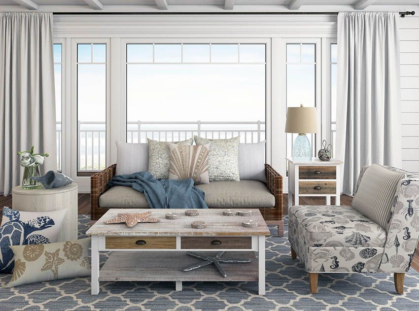 Beach Themed Living Room On A Budget With Images Beach Theme
