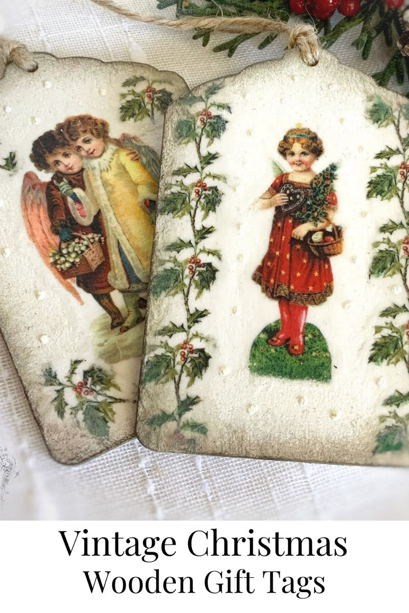 Handcrafted wooden gift tags. #angels #christmasangels #angelart #vintagechristmasdecorations #gifttags #woodentags #christmasgifttags #giftwrappingideas #giftwrap #christmasgifts #decoupageart #handmade #oldstyle #traditional #traditionalart