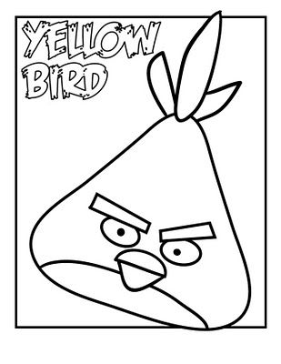 Yellow Angry Bird Black And White Birthday Coloring Page | Wiring ...