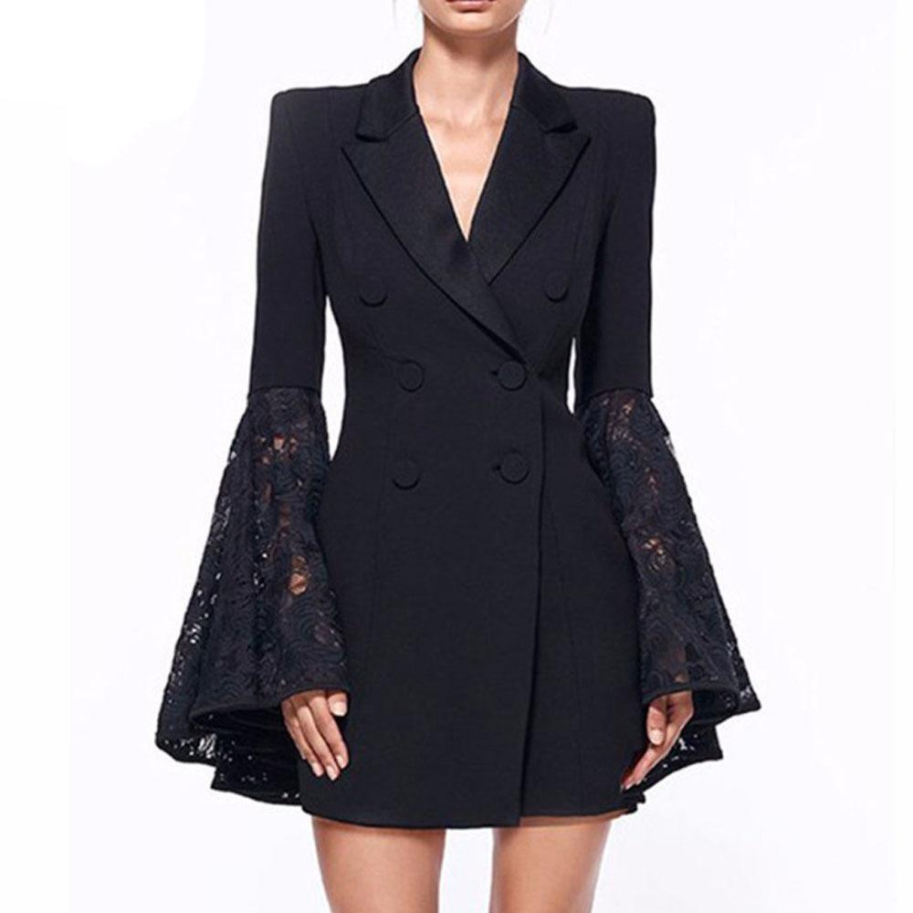V Neck Lapel Solid Color Long Trumpet Lace Sleeves Women Slim Long Bla Ebuytide 2020 Elbiseler Elbise Tarzlari Elbise