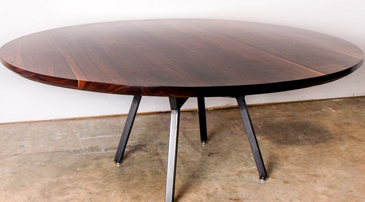 Round Hardwood Dining Table Made In Walnut Pecan Oak With Jax Style Steel Base Mockingbird Made Furniture Austin T Dining Dining Table Walnut Dining Table