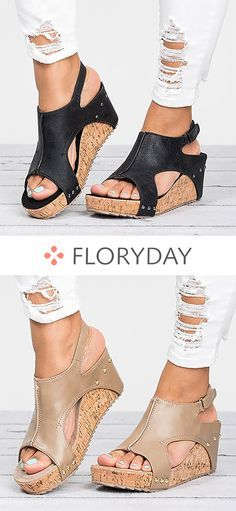 Split Joint PU Wedge Heel Shoes, PU shoes, fashion shoes