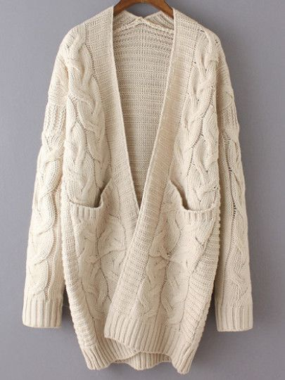 Beige Long Sleeve Cable Knit Pockets Cardigan | Fashion ...