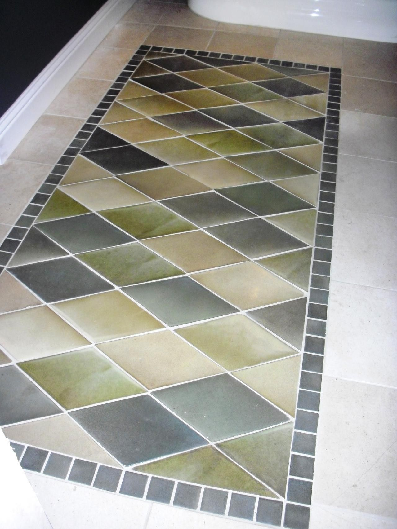 30 Creative Tile Rug Inlay Ideas For Your Bathroom The Urban Interior Creative Tile Bathroom Flooring Tile Rug