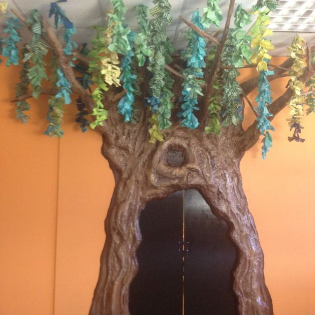3-D tree built out of wood, insulation spray foam, and
