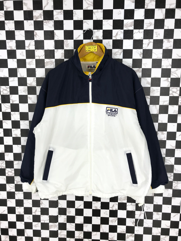 abac4e8a36061 FILA Windbreaker Jacket Large Vintage 90's White Fila Italia ...
