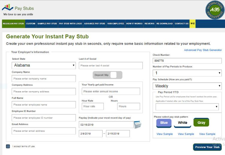 Pay Stubs Online Generation, Custom, Paying