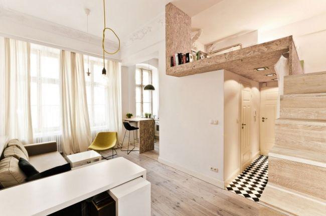 kleine wohnung einrichten küche esstheke wohnbereich treppen - Wohnung Einrichten Wie