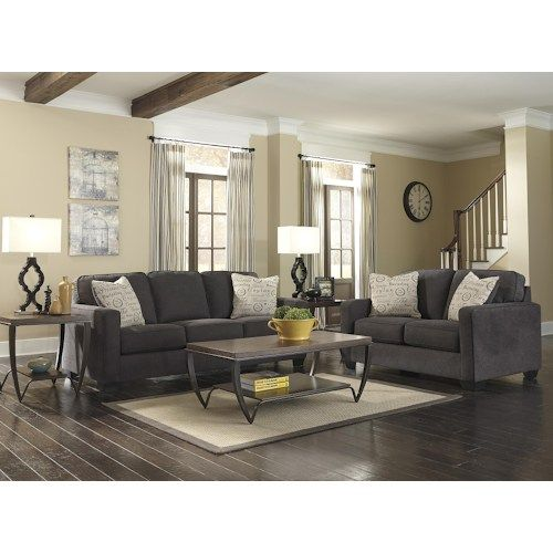 Signature Design By Ashley Alenya   Charcoal Stationary Living Room Group