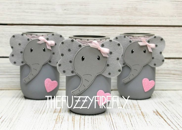 Original Elephant Mason Jar Centerpiece,Elephant Baby Shower,Elephant Party Decor,Elephant Nursery,Elephant Centerpiece,Pink Grey Elephant - -