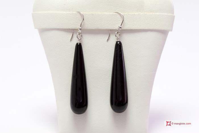 Extra Black Agate Earrings 10x40mm in Gold 18K