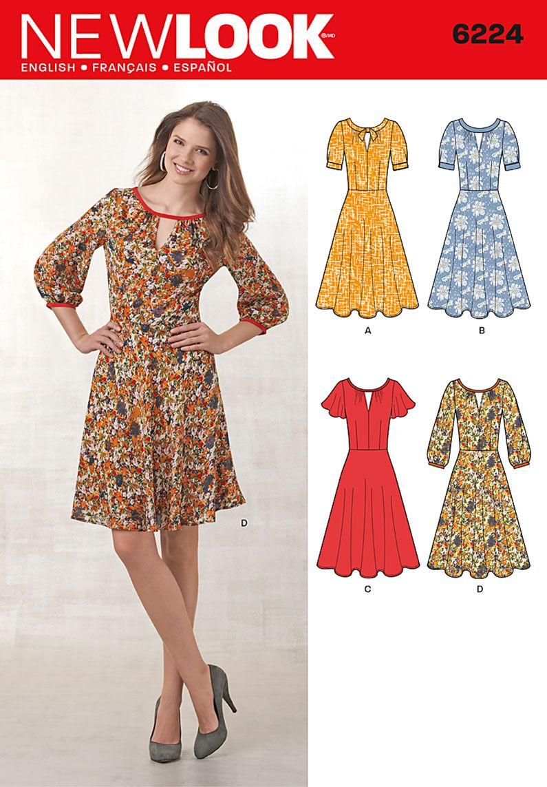 Newlook dress wbow tie at neck side zip sewing pinterest
