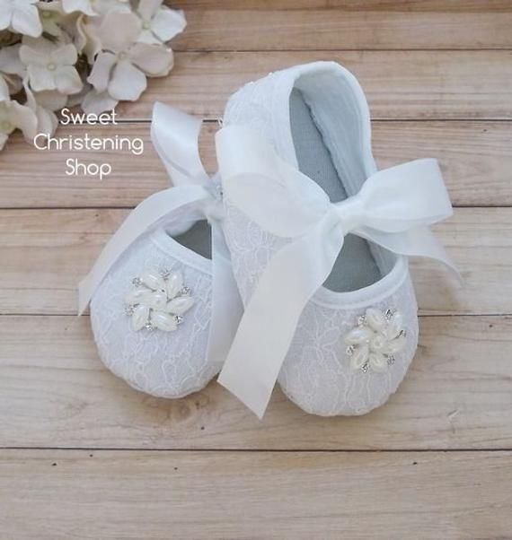 df9506efe590b Christening Shoes, WHITE Lace Baby Girl Shoes, Lace Baby Shoes with ...