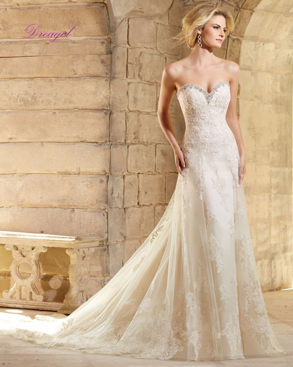 Dreagel New Desiger Luxury Beaded Strapless Trumpet Wedding Dress 2017 Exquisite Appliques Mermaid Gown Vestido