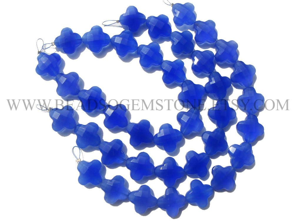 Blue Chalcedony Faceted Flower (Quality AAA) / 12.5 to 14 mm / 18 cm / CHALCE-049 by beadsogemstone on Etsy