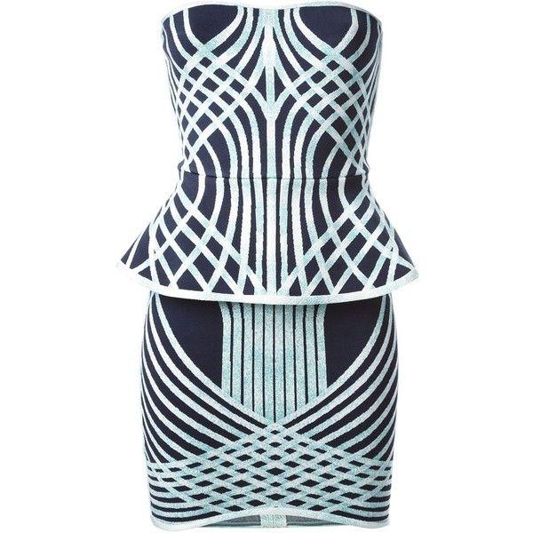 Hervé Léger Annette Printed Peplum Dress (£765) ❤ liked on Polyvore featuring dresses, short dresses, vestidos, blue, herve leger dress, short peplum dresses, short blue dresses и blue dress